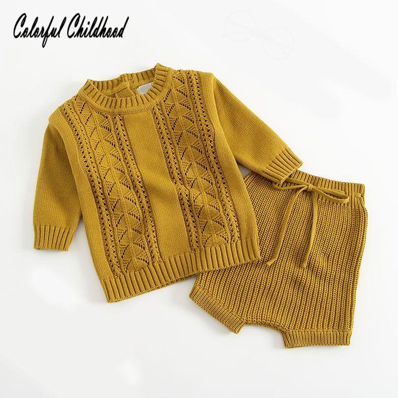 Neugeborenes Baby kleidet Herbstwinterbaumwolle gestrickten langen Hülsenmantel + Sätze des kurzen Hosen 2pc Säuglingsjungen- / Mädchenklagekleinkind-Kleidungssätze Y18102207