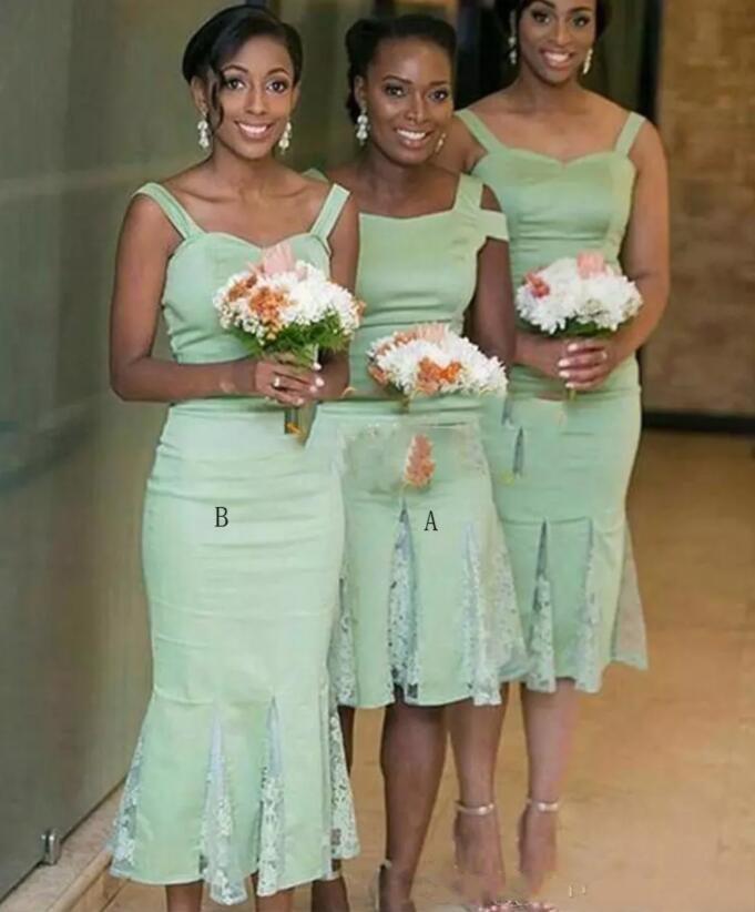 Два стиля африканские невесты платья для свадьбы атласа и кружева Русалка чай Длина горничной честь платье Спагетти Короткие свадебные платья партии