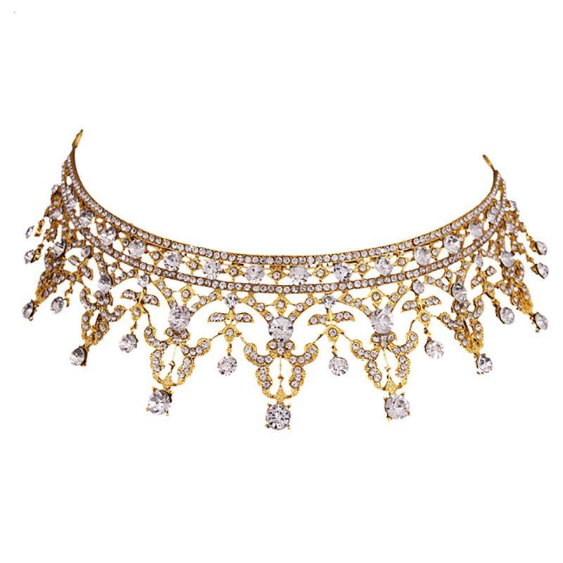 TUANMING Europe Royal Gold Tiaras Crowns Crystal Drill Bride Wedding Hair Accessories Fashion Women Hair Jewelry Newest Hairwear