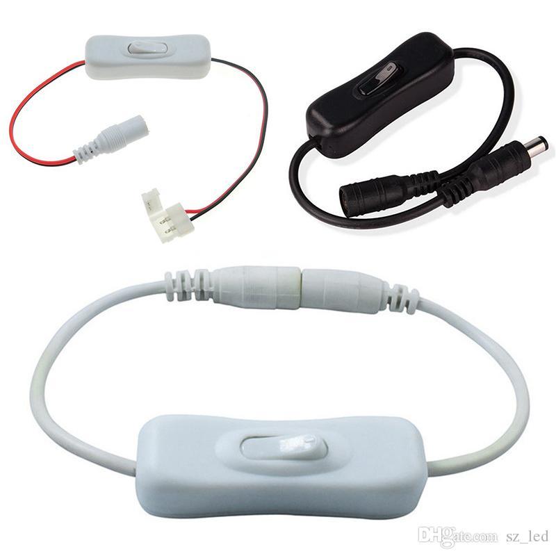 DC Interruptor Ligar cabo de fio para 2pin 8 milímetros 10 milímetros conector com interruptor de SMD 3528 5050 Cor única faixa LED
