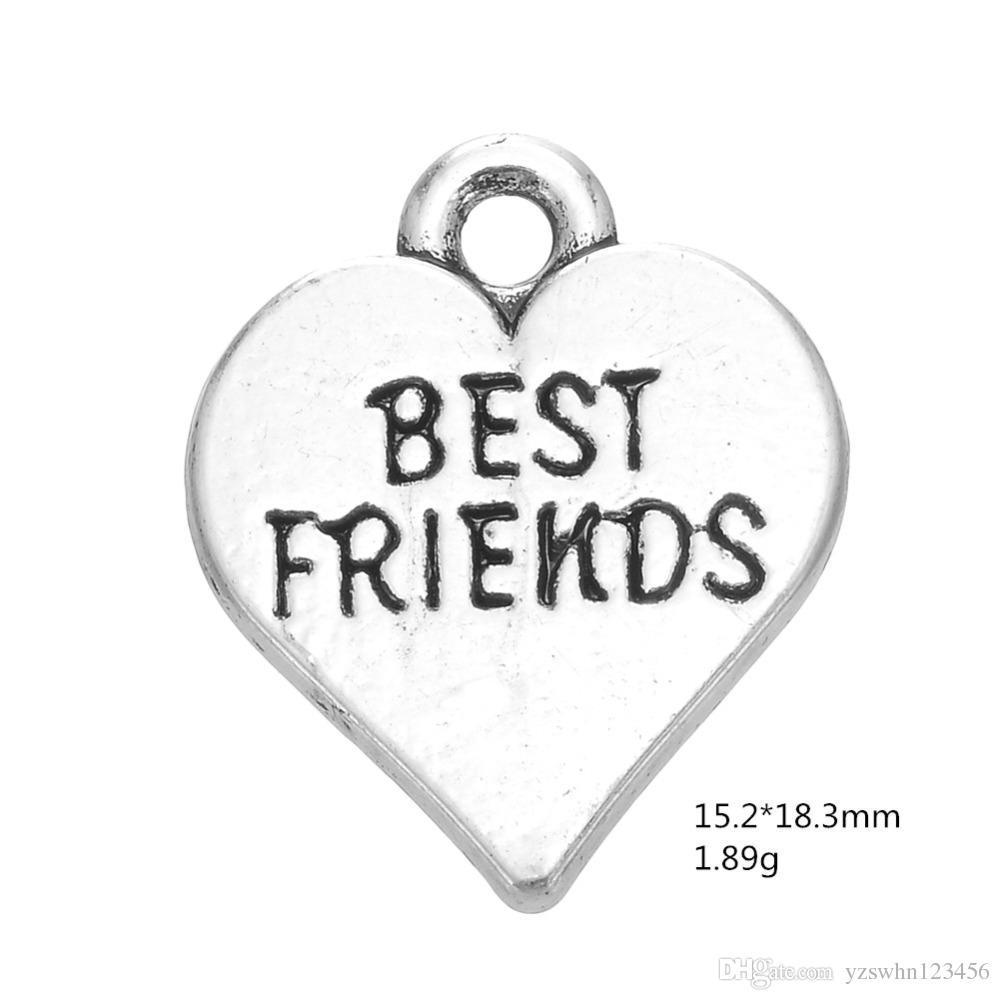 2021 Mensaje de aleación de zinc Charms para joyería haciendo letra flotante impresa Mejor amigo Fit DIY Pulsera Collar