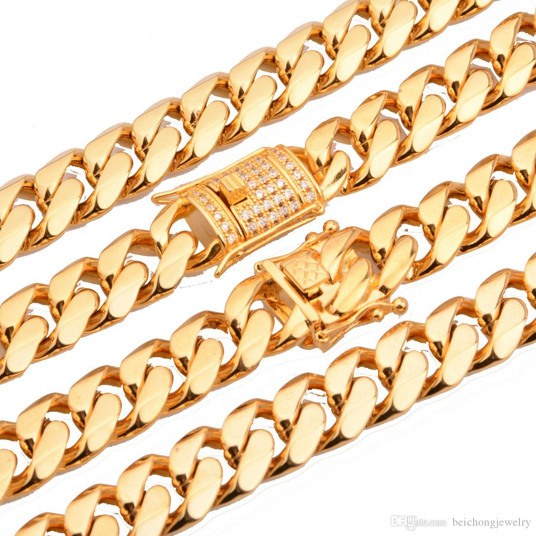 Beichong Edelstahl Schmuck 18 Karat Gold Gefüllt Überzogene Hochglanzpolierte Miami Cuban Link Halskette Männer Punk Panzerkette Drachenbart ...