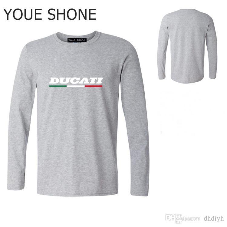 زائد حجم الرجال نارية طويلة الأكمام الزى camiseta الإيطالي العلم المحملة دوكاتي t-shirt رجل jogger اللياقة الأساسية القمصان القطنية القطن السترة