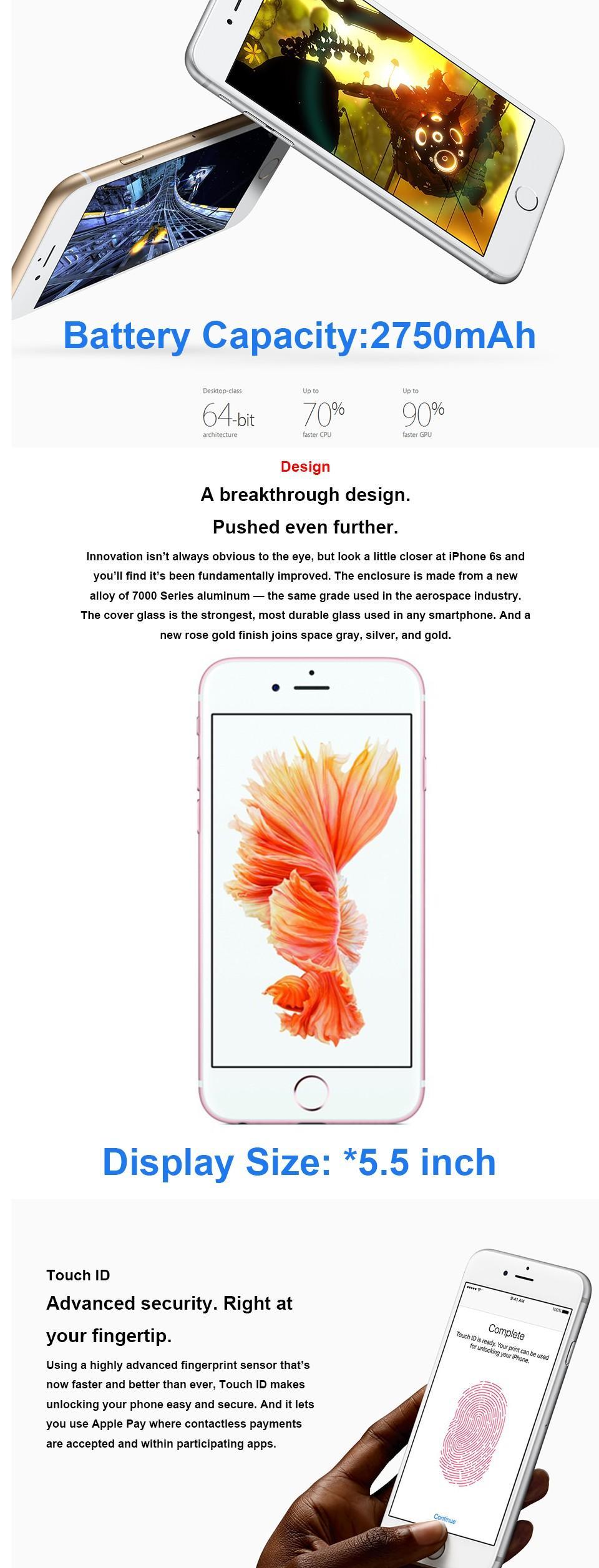 wholesale Original Unlocked iPhone 6s iPhone 6s Plus 12MP Camera Cell Phone 4 7&5 5 IPS 2GB RAM 16 64 128GB ROM IOS LTE with fingerprint