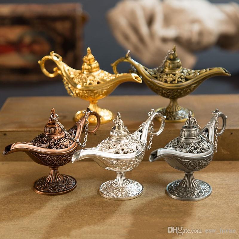 Masal Aladdin Sihirli Lambası Vintage censer Yaratıcı Metal Aroma Brülör Çok Renkli Tütsü Brülörler Parfüm