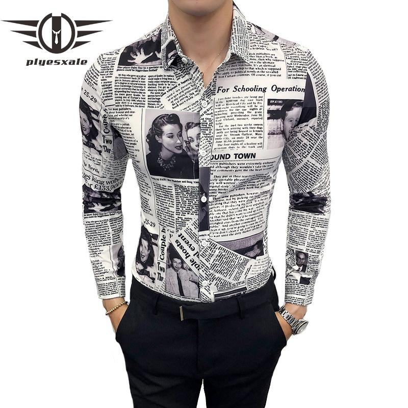 Plyesxale Giornale Stampa Camicia Uomo 2019 Camisa Social Masculina Slim Fit 5XL Manica Lunga Camicie Casual Per Uomo Prom Shirts S1