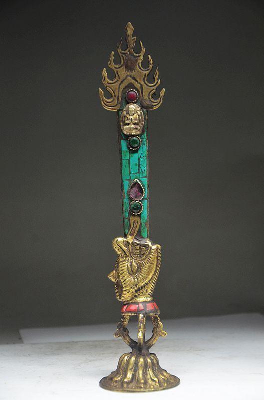 البوذية التبتية TURQUOISE BRONZE HANDWORK BUDDHIST الروحية أداة EXORCISM