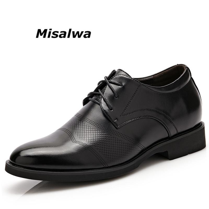 Misalwa New Oxford zapatos de vestir para hombre de cuero de la pu zapatos para hombre clásicos ocasionales con cordones de hasta elevador de altura de conducción calzado