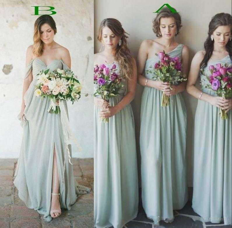 Ucuz Şifon Adaçayı Yeşil Gelinlik Modelleri Bir Hatt Kolsuz Pleats Uzun Nedime Elbise Ülke Düğün Parti Konuk Bowns