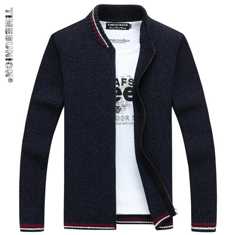 TIMESUNION Hırka Pamuk Erkekler Marka Giyim Fermuar Moda Kış Ceket Çizgili Standı Yaka Kazak Erkekler Y1892108