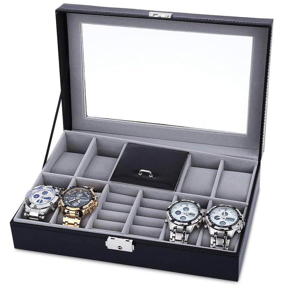 Wholesale-8 Grids + 3 Mixed Grids Watch Case Luxury Jewelry Decoration Storage Display relogios Box PVC Watch Box Case Leather Gift Boxes
