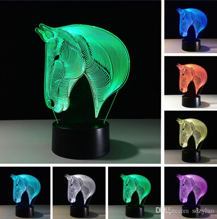 Creative New 3D Horse 7 Colors Changing LED Night Lights Dimming Table USB Remote Touch Switch Bedside Sleeping Party Lamps Decor Toys Gifts