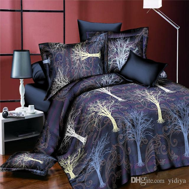 Creative Boho Life Tree Bedding Set 3D Floral Duvet Cover Bed Sheet Pillowcases for Adults Children Home Textiles 4pcs Men Bedclothes Gifts