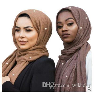 Sciarpe di cotone monocromatiche bianche e grigie che vendono sciarpe di pura lana di colore puro di alta qualità accessori di perle per capelli foulard
