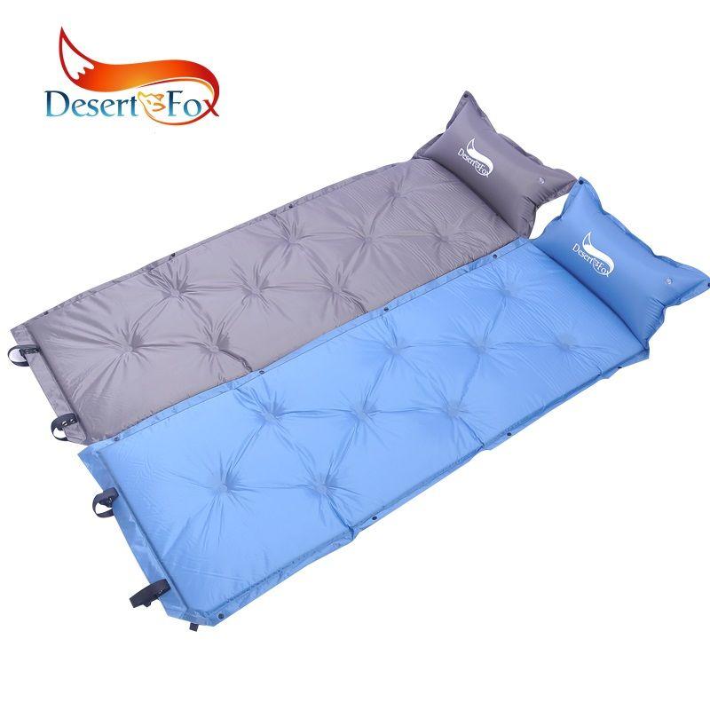 Desert Fox Camping Inflatable Mat Blue Gray Color Outdoor Sleeping Mattress Portable Storage Bag Folding Comfortable Tent Mat