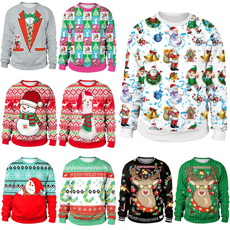 2019 Hoodies Unisex UGLY CHRISTMAS Vacation Santa Elf Funny Wms adult Sweatshirt 3D Novedad Claus Jersey Cromático Pritned Outfits