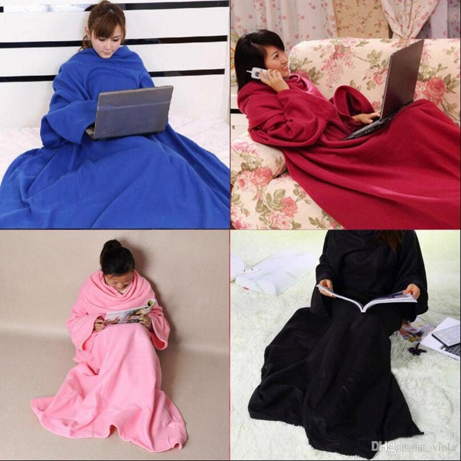 Vente chaude Doux Chaud Molleton Snuggie Couverture Robe Robe Avec Manches Confortables Wearable Sleeve Blanket Wearable Blanket 4colors