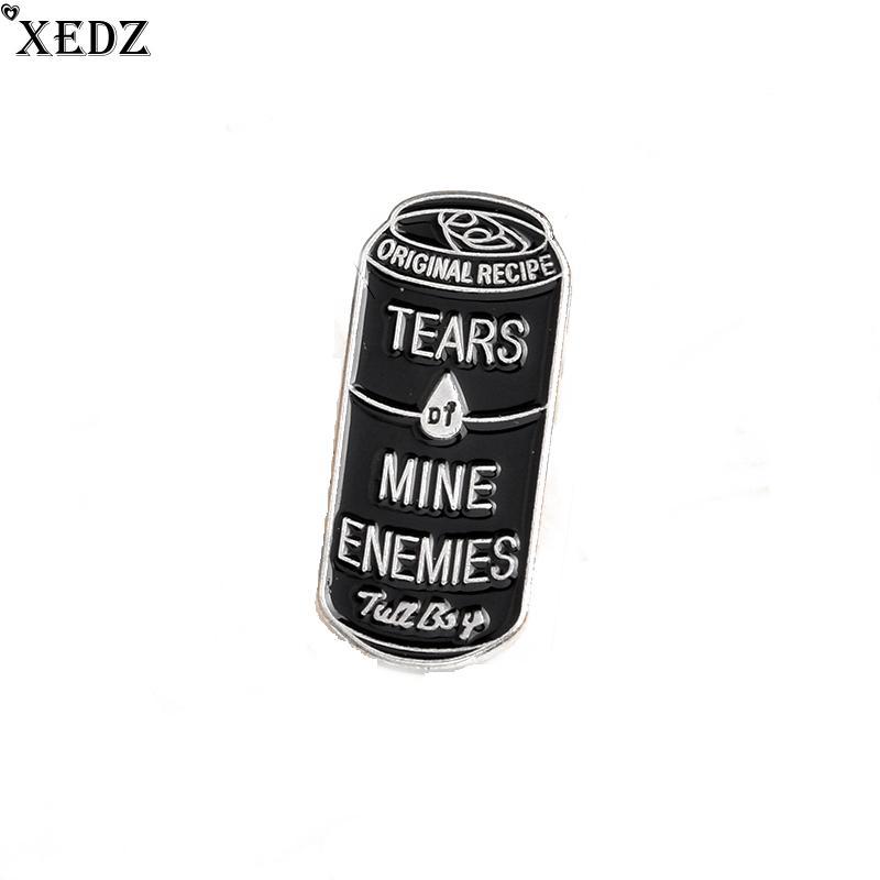 XEDZ Tears of Mine Ennemis Black Cans Icônes en émail Pins Badge Badge broche pour revers Denim PU Punk Dark Broches sac accessoires