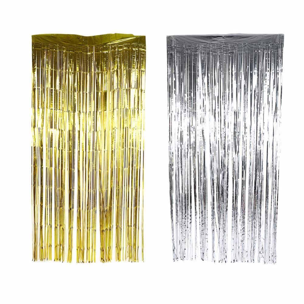 2/3M Metallic Foil Curtain Wedding Backdrop Birthday Party Decorations Kids Party Supplies Tassel Garlands Mariage Decoration