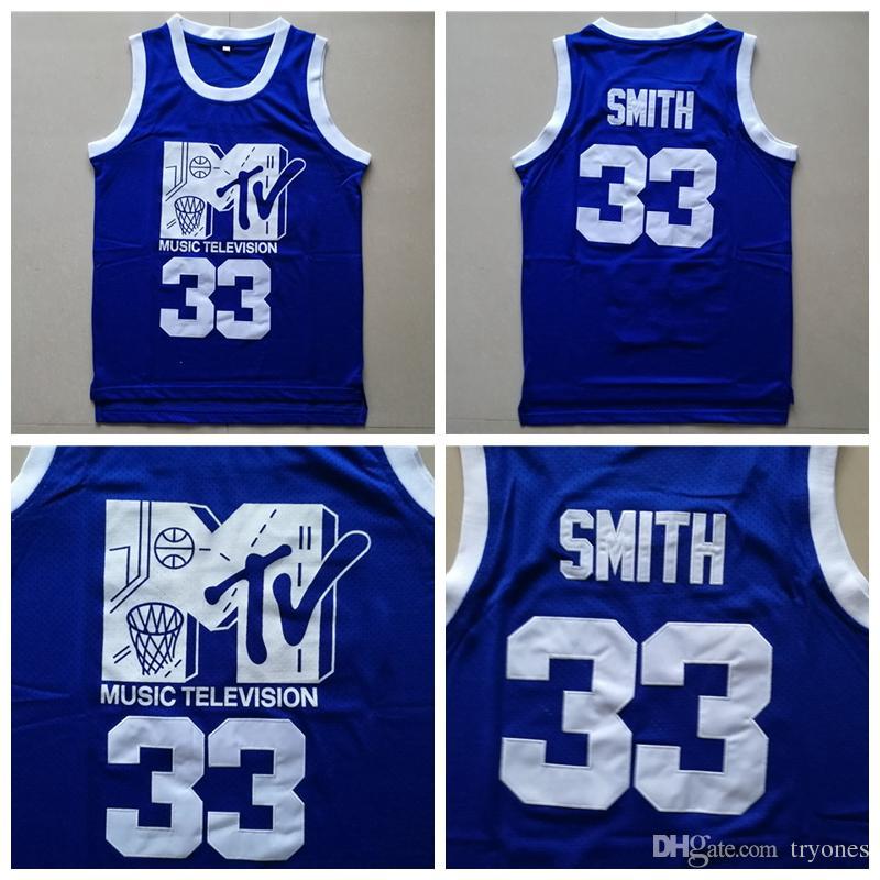 Para hombre Will Smith # 33 baloncesto Jersey Música Rock Television Primera Anual N'Jock B-Ball Jam 1991 Azul Will Smith cosido camisas