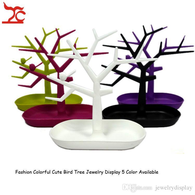 Nova marca de Jóias Pulseira Colar Brinco Anel Display Stand Titular Organizador Colorido Pássaro De Plástico Árvore Jóias Display Rack
