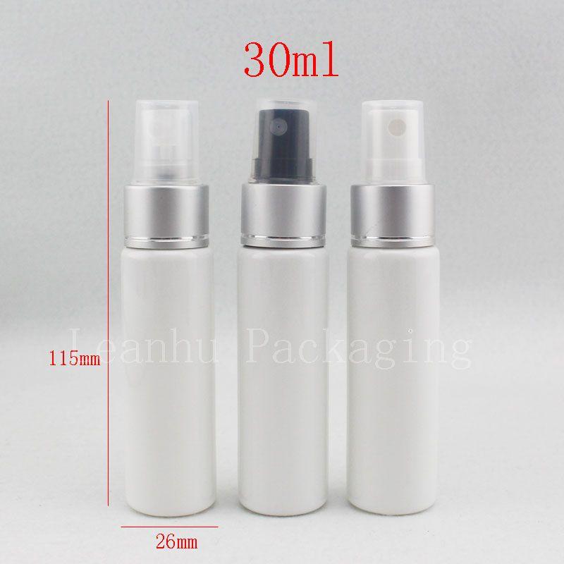Flacone di profumo bianco vuoto 30 ml X 50 con spruzzatore pompa in alluminio Bombola in plastica da viaggio da 30 cc 1oz spray cosmetico per nebulizzazione