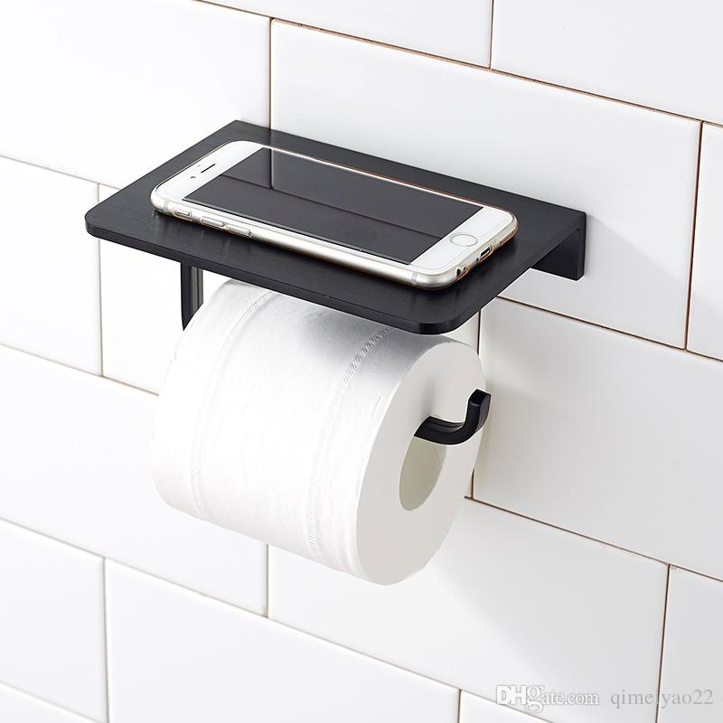 Silver Black Space Aluminum Paper Holder with Mobile Phone Shelf Toilet Paper Holder Waterproof Wall Mounted Bathroom Toilet Paper Holding