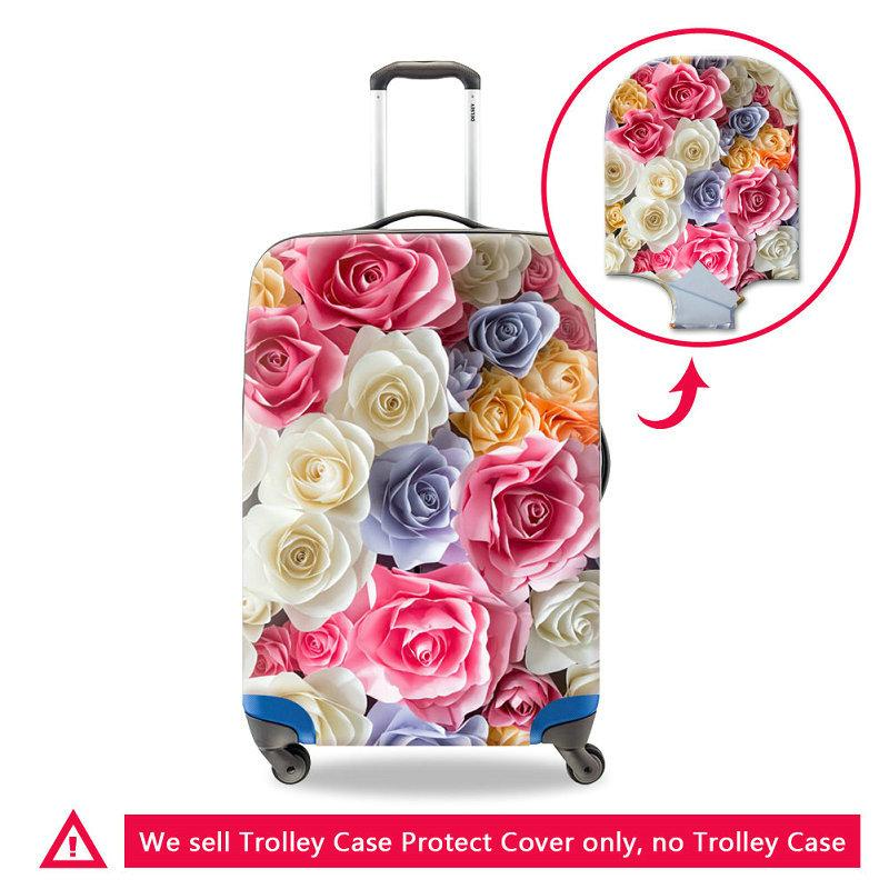 Colorful Rose Printing Women Fashion Travel Luggage Cover For 18-30 Inch Trolley Trunk Cute Flower Case Covers Travel On Road Suitcase Cover