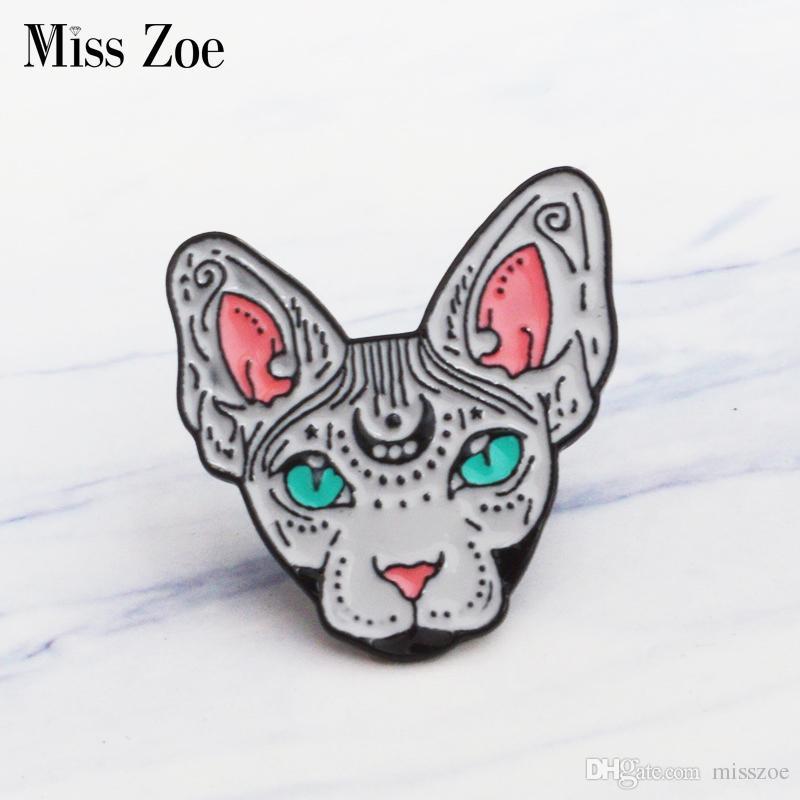 Bayan Zoe Kanadalı Hairless emaille pin Heks kat Broches Hediye için Arkadaşı Hayvan Pin Rozeti Knop Tersler için pin Kleding Kot kap