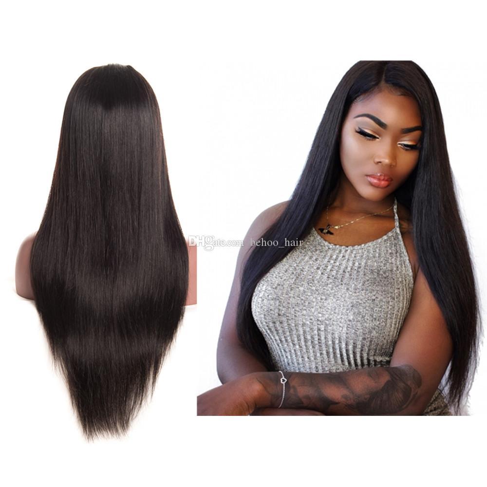 Lange seidige gerade volle LACEWIG peruanische Glueless Menschenhaar-Spitze-Front-Perücke Mit dem Mittelteil Natürlicher Haarstrich für schwarze Frauen