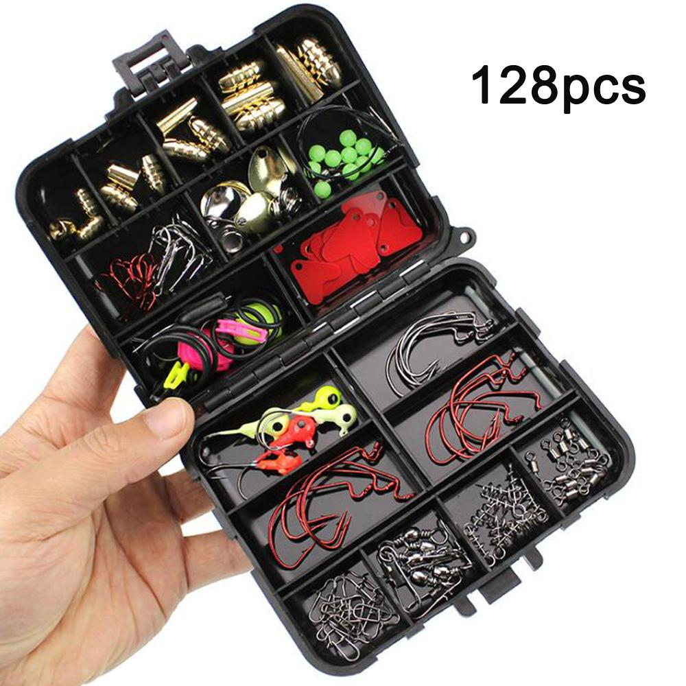 128Pcs/Kit Fishing Accessories Set Carp Catfish Freshwater Saltwater Fishing Tackle Box - Hooks, Swivels, Double Loops, Spinners