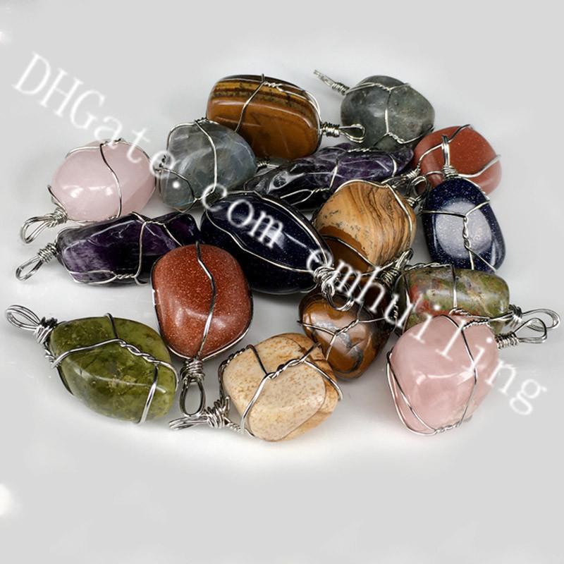 10Pcs 25-30mm Freeform Natural Tumbled Stone Pendants Wire Wrapped Unakite Labradorite Amethyst Pendant Charm Boho Chic Gypsy Hippie Jewelry
