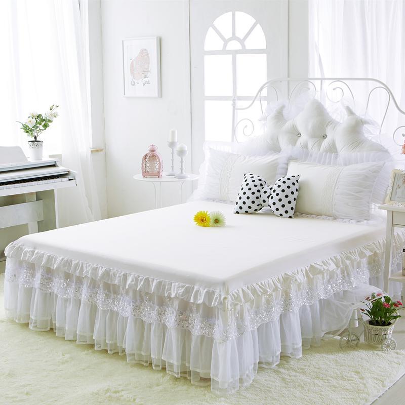 Cotton Bed Röcke Weiß embroidey Spitze Bedspread Bettlaken für Hochzeit Twin Voll Königin King Size Prinzessin Bettdecke