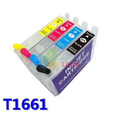 Boşluk Doldurulabilir Kartuşu için epson T1661 T1662 T1663 T1664 doldurulabilir mürekkep kartuşu yazıcı için uygun me101 me10 withARC cips