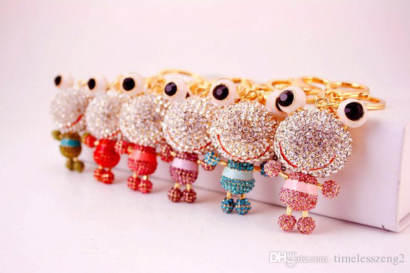 Big eye grenouille porte-clés 6 différentes couleurs mignon grenouille strass porte-clés Creative petit cadeau Livraison gratuite