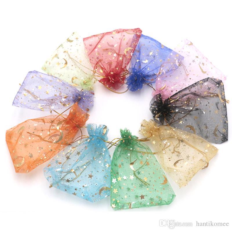 200 unids 11 Colores Bolsa de Joyería 9X12 cm Regalo de Boda Estrella de la Luna Organza bolsa Dibujar Joyería Empaquetado de Exhibición Bolsas de Joyería