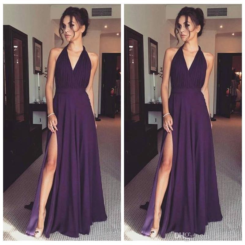 Compre Vestidos De Noche Largos Morados Oscuros Halter Con Cuello En V Una Línea De Split Palabra De Longitud Gasa Prom Vestidos Vestido De Fiesta
