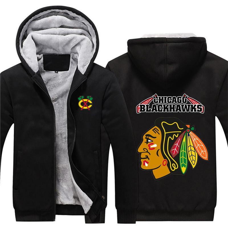 Chicago Blackhawks sweatshirt Kuzey Amerika hokey Erkekler kış rahat ceket Sıcak kalınlaştırmak eşofmanı moda