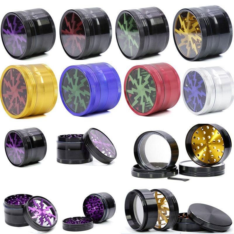 Metal Tabaco Fumar Herb Grinders 4 capas Aleación de aluminio Lighting Grinders con Clear Top Window 63mm 12 colores gratis DHL WX9-792
