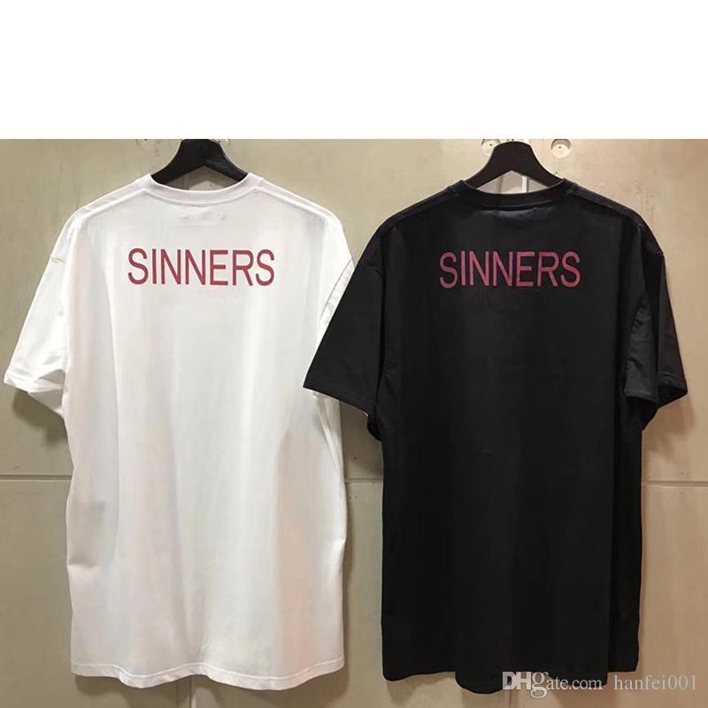 2018 Streetwear 파리 팬 만든 패션 남자 고품질 SINNER 편지 인쇄 코 튼 Tshirt 캐주얼 여자 티 셔츠 HFWPTX012