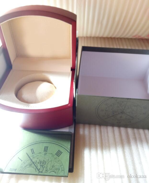 2018 New Hot Top Luxus-Uhrenmarke Red Original Kasten-Papiere Geschenk Uhren Boxen Ledertasche Karte für App-Uhr-Kasten d01