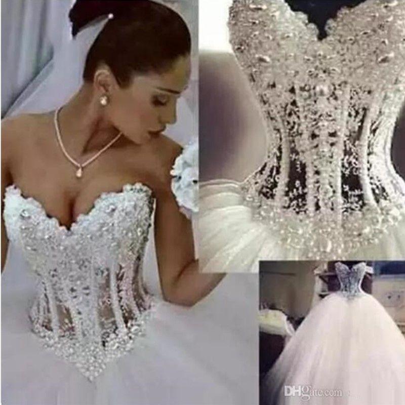 Desconto vestido de bola vestidos de noiva querido espartilho ver através do comprimento do chão princesa vestidos nupciais frisados pérolas de renda feita sob encomenda