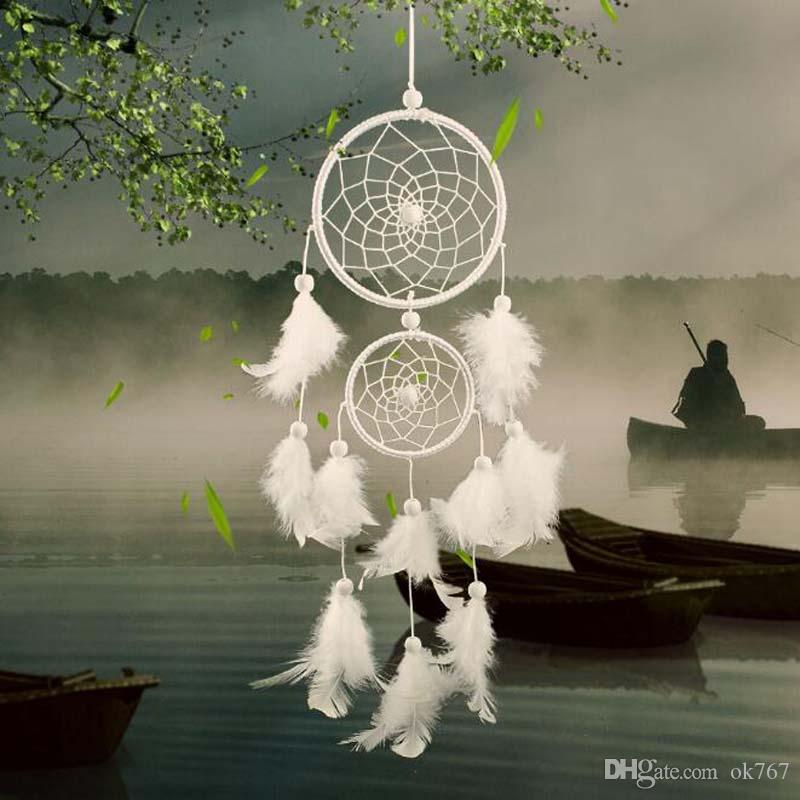 Venta caliente Dream Catcher White Feather Net con 2 anillos Dreamcatcher Craft para colgar accesorios de decoración Regalos de cumpleaños