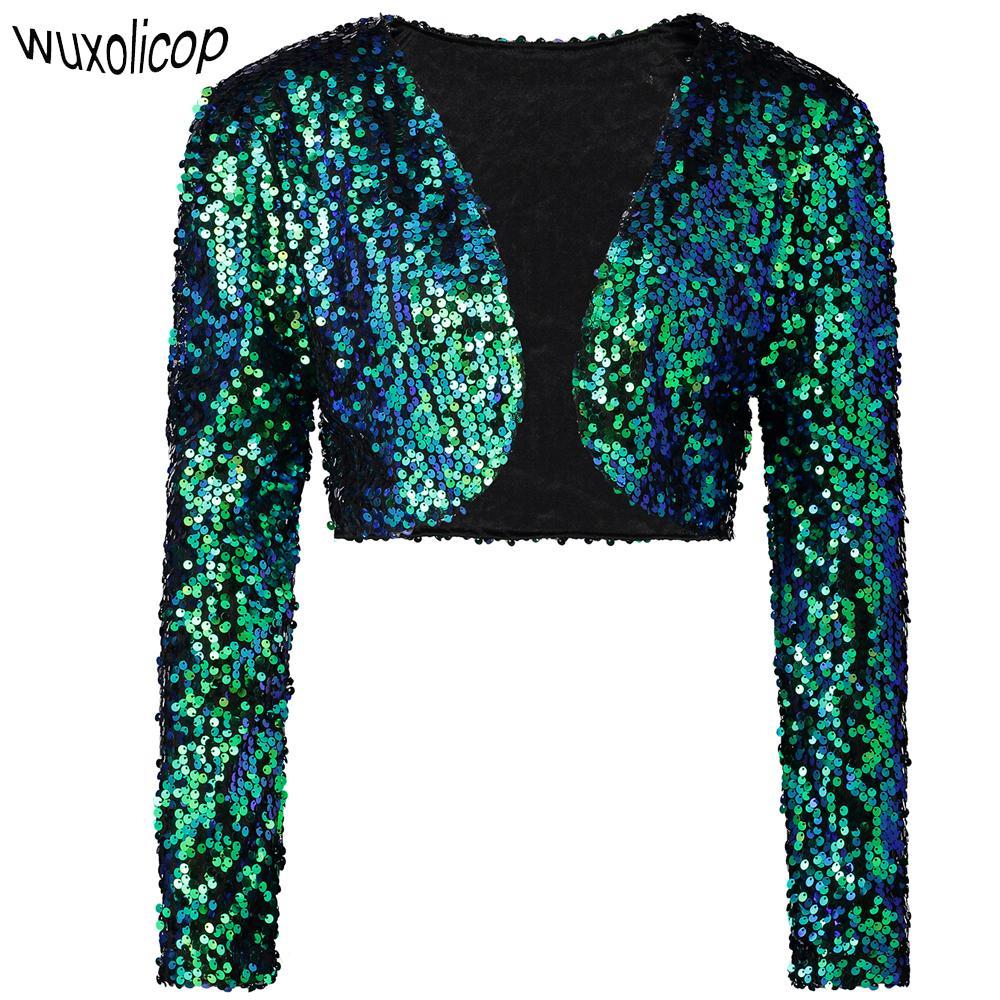 Wholesale-Vintage Women Cropped Blazer Bolero Shrug Clubwear Party Costumes Shiny Sequin V-Neck Short Vest Sexy Cardigan Jacket Coat