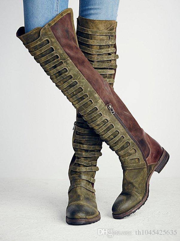 Automne Hiver Western Style Automne Nouveau Daim Plat Genou Bottes De Neige Bottes Moto Bottes Martin Chaussures Femme Désert Combat Booties Mujers