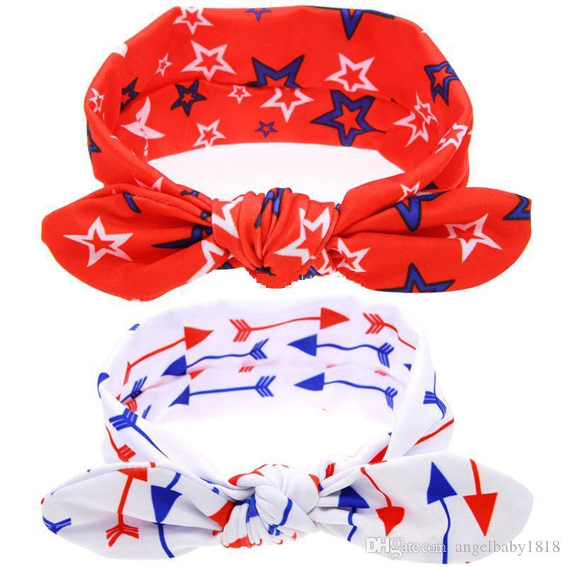미국 독립 기념일 활 머리띠 아기 스타 화살표 인쇄 터번 스트레치 매듭 헤어 밴드 키즈 헤어 액세서리