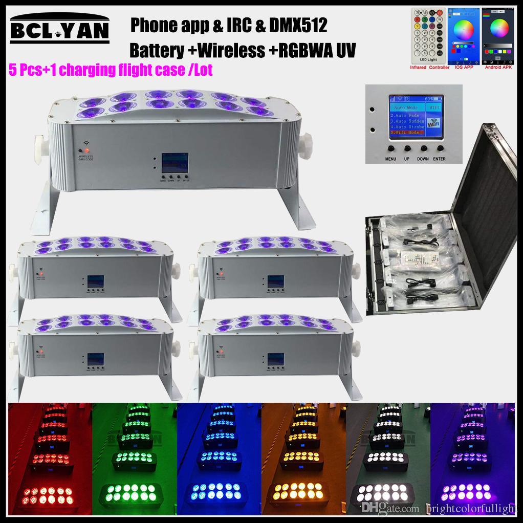 NEW Design DJ Disco Party Wedding Lighting LCD Screen Remote Control 12PCS 18W 6IN1 RGBWA UV Wireless dmx LED stage light WIFI