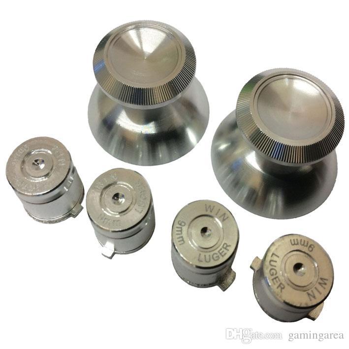Palanca de mando del palillo de la palanca de mando del joystick del metal de aluminio 3D + Botones del botón de la acción de la bala para el regulador de PS4 DHL FEDEX EL CCSME ENVÍO LIBRE