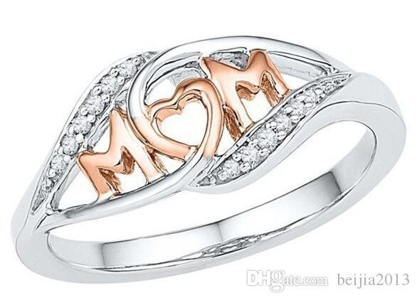 جديد النحاس الحب أمي الدائري هدية الأم حجر الراين إلكتروني القلب روز الذهب والفضة اللون النساء المجوهرات هدية عيد الأم