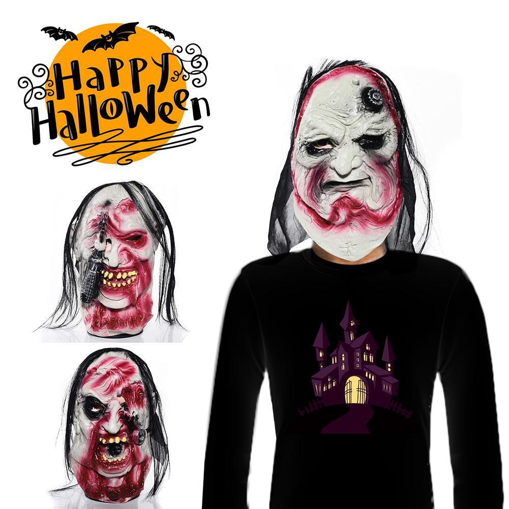 Horror Grimace Scary Zombie HairHalloween Masks Masquerade Grimace Ghost Mask Devil